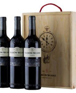 Wooden box 3 bottles