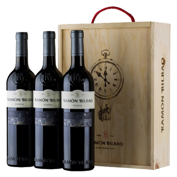 estuche de tres botellas Ramón Bilbao Reserva 2012